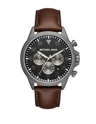 Michael Kors Gage Round Leather Strap Chronograph Watch Brown