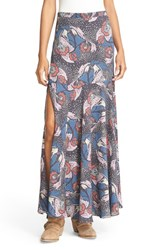Free People Women's Floral Print Crepe Maxi Skirt