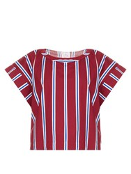 Stella Jean Striped Cotton Top Burgundy