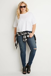 Forever 21 Distressed Boxy Tee White