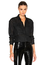 Anthony Vaccarello 4 Pocket Long Sleeve Shirt In Black