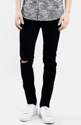 Topman Ripped Stretch Skinny Fit Jeans Black
