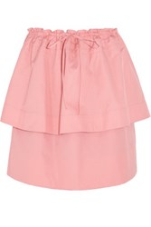 See By Chloe Tiered Cotton Faille Mini Skirt Pink