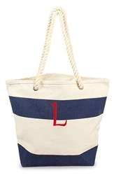 Cathy's Concepts Personalized Stripe Canvas Tote Blue Navy L