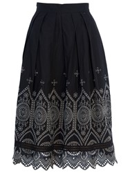 French Connection Josephine Flared Skirt Black Tribal Green