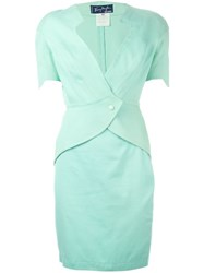 Thierry Mugler Vintage Diamond Neckline Skirt Suit Green