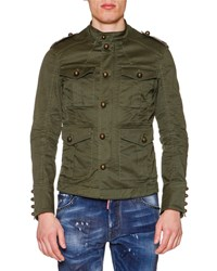 Dsquared Large Button Military Jacket Olive Green Men's