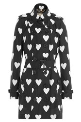 Burberry London Heart Printed Silk Trench Coat With Wool Black