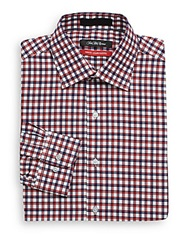 Saks Fifth Avenue Trim Fit Satin Weave Check Dress Shirt Red