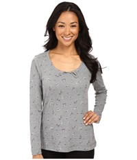Jockey Cotton Poly Printed Long Sleeve Top Ditsy On Heather Grey Women's Pajama Gray
