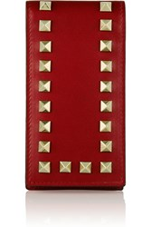 Valentino The Rockstud Leather Phone Case Red