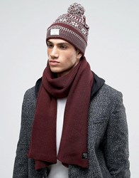 Jack And Jones Bobble Beanie Scarf Gift Set Red