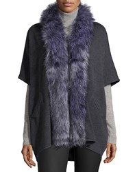 Bagatelle Short Sleeve Cardigan W Faux Fur Collar Gray