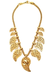 Chanel Vintage Paisley Charm Necklace Metallic