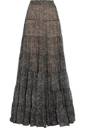 Michael Kors Tweed Print Silk Chiffon Maxi Skirt Black