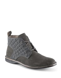 Andrew Marc New York Dorchester Quilted Suede Chukka Boots Silver