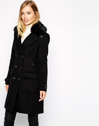 Karen Millen Classic Coat With Faux Fur Collar Black