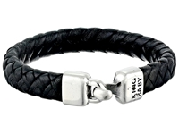 King Baby Studio Small Braided Leather Bracelet W A Hook Clasp