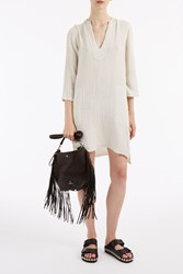 Raquel Allegra Dirty White Gauze Tunic Dress