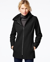 London Fog Petite Hooded Zipper Front Coat