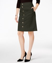 Charter Club Button Front Corduroy Skirt Only At Macy's Autumn Sage