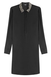 Dkny Silk Shirt Dress With Embellished Collar Black