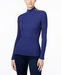 Inc International Concepts Embellished Mock Neck Sweater Only At Macy's Tartan Blue
