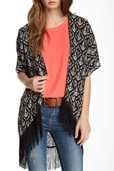 Romeo And Juliet Couture Damask Printed Fringe Trim Kimono Black