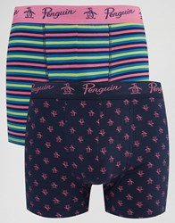 Original Penguin 2 Pack Boxer Shorts Navy