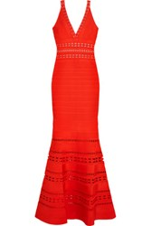 Herve Leger Cutout Bandage Gown Bright Orange
