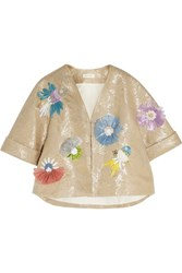 Delpozo Embellished Embroidered Metallic Linen Blend Jacket Sand