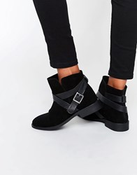 Asos Alex Suede Slouch Ankle Boots Black