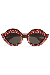 Gucci Cat Eye Crystal Embellished Acetate Sunglasses Red