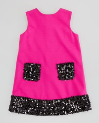 Milly Minis Daphne Combo Sequin Dress Pink