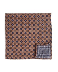 Bloomingdale's The Men's Store At Double Sided Plaid And Floral Print Pocket Square Taupe Blue