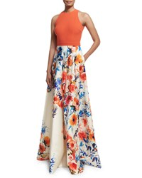 Carmen Marc Valvo Sleeveless Halter Neck Combo Gown Orange Size 10