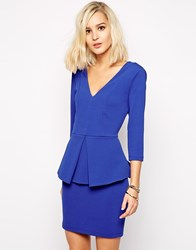 River Island Deep V Peplum Pencil Bodycon Dress Cobaltblue