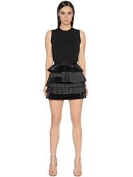 Dsquared Wool Jersey And Silk Georgette Dress