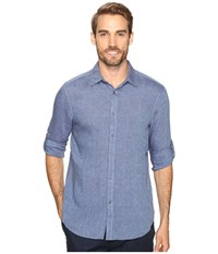 Perry Ellis Solid Rolled Sleeve Linen Shirt Delft Men's Clothing Blue