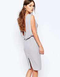 Elise Ryan Embellished Pencil Dress With Drape Back Gray