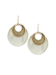 Alexis Bittar Lucite And Mother Of Pearl Double Hoop Earrings Ivory