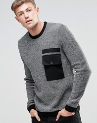 Asos Crew Jumper With Contrast Woven Pocket Black Twist
