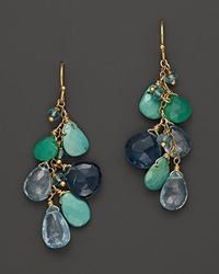 Bloomingdale's Multi Blue Topaz Chrysoprase And Turquoise Briolettes Chandelier Earrings