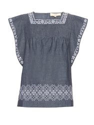 Vanessa Bruno Elba Embroidered Cotton Top Light Blue