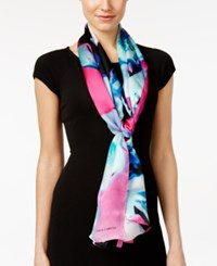 Vince Camuto Orchid Explosion Silk Oblong Scarf Pink Glow