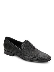 Roberto Cavalli Perforated Leather Loafers Black