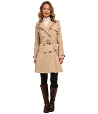Lauren Ralph Lauren Kent Skirted Trench Racing Khaki Women's Coat Beige