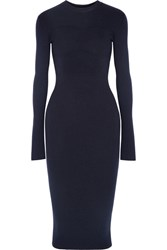 Victoria Beckham Ribbed Stretch Wool Blend Dress Midnight Blue