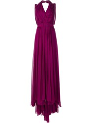 Carolina Herrera V Neck Chiffon Gown Pink Purple
