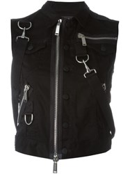 Dsquared2 Biker Zip Gilet Black
